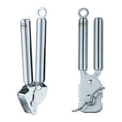 Rosle Garlic Press & Can Opener Set - This 2 piece set from Rosle includes 1 garlic press and 1 can opener. The plier grip can opener easily opens cans and leaves no sharp edges while the heavy duty garlic press features a special leverage mechanism ensuring that minimum effort is required.