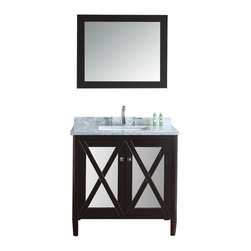 "Ariel - Summit 36"" Single-Sink Bathroom Vanity Set - This vanity from our Summit collection blends modern and traditional elements into one design. From its tapered legs to mirrored door panels and rich espresso finish, this vanity is sure to provide a dash of style to any bathroom."
