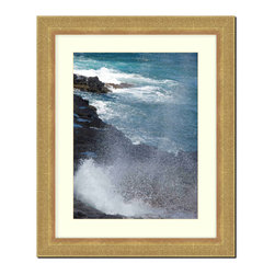 """Frames By Mail - Wall Picture Frame Gold Ribbed with a white acid-free matte, 8x10 - This 8X10 gold ribbed frame is imported from Italy.  The frame is 2"""" wide and has a white matte, for a 5X7 picture, can be removed to accommodate a larger picture.  The frame includes regular plexi-glass (.098 thickness) foam core backing and can hang either horizontal or vertical."""