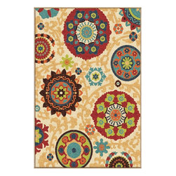 "Orian - Orian Veranda Tatro (White) 5'3"" x 7'6"" Rug - The Veranda Collection combines the benefits of outdoor functionality with the pizzazz of contemporary fashion. The contrast of earthy neutral colors with exciting, brilliant accent colors create an exciting new element to your decor that brings any space to life."
