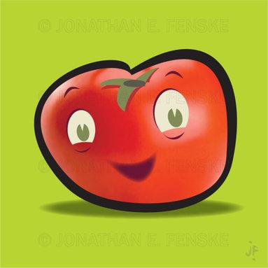 Happy Tomato in Green Modern Art Canvas -