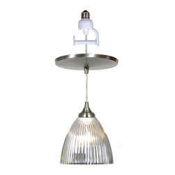Instant Pendant Light, Halophane White Dome Glass, Brushed Nickel Cage & Adapter - Instant Pendant Light, halophane white dome glass with brushed nickel cage, brushed nickel adapter