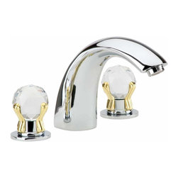 Renovators Supply - Faucets Chrome/Glass Widespread Faucet | 13131 - Widespread Faucet. Decorative widespread faucets are an elegant addition to any to any bathroom! You will not find a better faucet for this price!