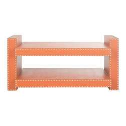 Safavieh - Safavieh Garson Orange Coffee Table - The nailhead trim on this low orange table adds a dash of designer style for a very small price.