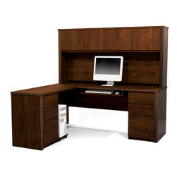 """Bestar - Prestige L-Shaped Workstation Kit in Chocolate - Prestige + is a timeless modular collection that will adapt to your needs, over time. With its wide range of products, it is ideal for every type of office. The desk is made of a durable 1"""" commercial grade work surface with melamine finish that resist scratches, stains and wears. It features an impact resistant 0.25 cm PVC edge, a full modesty panel and classic moldings. Grommets are available on the desk for efficient wire management. The hutch, the credenza and the return table meet or exceed ANSI/BIFMA performance standards. Each pedestal offers two utility drawers and one file drawer with letter/legal filing system. One lock secures bottom two drawers. The drawers are on ball-bearing slides and the keyboard shelf has double extension ball-bearing slides for a smooth and quiet operation. The hutch for credenza offers large closed storage space, efficient wire management and side moldings. The opening has 11'' 3/4 high which is ideal for letter format binders. The doors are fitted with strong adjustable hinges. The station is fully reversible.; Color: Chocolate; Dimensions: 71.1""""L x 62.8""""W x 66.8""""H"""