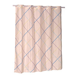 """EZ-ON """"Fairfield"""" Polyester Shower Curtain - """"Ez On"""" Fabric shower curtain with built in shower curtain hooks:  size 70"""" wide x 72"""" long; pattern name """"Fairfield"""". Soften your bathroom without any added frustration with our EZ-ON """"Fairfield"""" Shower Curtain (standard size 70'' wide x 72'' long). Using patented Hookless technology, our EZ-ON curtains come with built in flat top rings that simply snap on to your existing shower curtain rod--pesky hooks no longer required. Additionally, this 100% polyester curtain resists water and is machine washable. Machine wash in warm water, tumble dry, low, light iron as needed"""