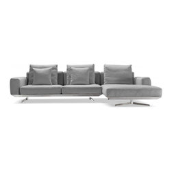 """Interior Define - Prichard modern sectional sofa - Interior Define's unique approach bypasses unnecessary middlemen and markups to provide high-quality, price-friendly, and made-to-order designs. Contemporary in design, yet surprisingly versatile and classic, the Prichard right-arm chaise sectional sofa allows you to reimagine what your living space can be. It is handcrafted with high-resilience foam and goose down cushions, as well as fitted with a base of high-density steel forged right at our factory. Its elegant, modern style distinguishes it from other couches, and its plump cushions give it a luxurious feel and look. The Prichard is one of Interior Define's most stylish pieces. Indulging in elegant luxury has never been so affordable. The Prichard is also available in other configurations. Standard dimensions: 122""""W x 73""""D x 35""""H."""