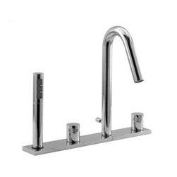 Aquabrass - Aquabrass - Y7518 Xround 4 Piece Deckmount Tub Filler-ABFBY7518X0073PC - W/Handshower - Round Handle - Polished Chrome Finish