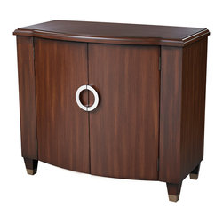 Sterling Industries - Hastings Chest in Dark Cherry - Lovely transitional chest in hand painted dark cherry veneer finish with a mid-century chic attitude. Bombe� shape with spade feet. One adjustable shelf.