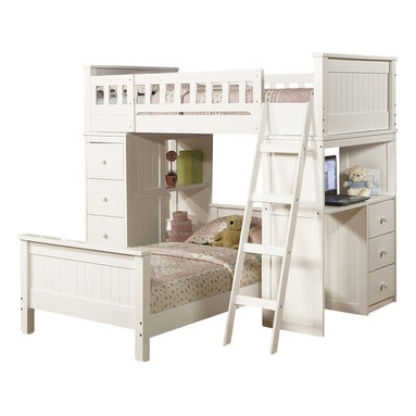 """Acme - White Finish Wood Loft Bunk Bed Set with Desk and Drawers and Lower Twin Bed - White finish wood loft bunk bed set with desk and drawers and lower twin bed. This set features 2 twin beds with one on top with rails, a desk area on the end and shelves and drawers on the opposite side. Loft bunk measures 82"""" L x 42"""" W x 67"""" H, Desk unit measures 43"""" W x 18"""" D x 48"""" H , shelf unit measures 43"""" W x 18"""" D x 48"""" H, Twin bed on bottom measures 82"""" L x 42"""" W x 24"""" H. Also available without the lower bed. Also available in black. Some assembly required."""