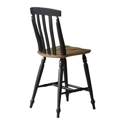 Liberty Furniture - Liberty Furniture Al Fresco II Slat Back Counter Height Stool (Set of 2) - Al Fresco or dining in the outdoors brings to mind an open air natural feel. Al Fresco Casual Dining is a fresh approach to a casual rustic style. Two tone finish with tops of the tables in driftwood and the base in a black finish. Tops feature planked design with round/square peg accents. Tapered block legs carry the casual rustic theme of the group. Butterfly leaf square counter table has a pedestal storage base with a storage drawer and top shelving. What's included: Counter Height Stool (can only be purchased in sets of 2).