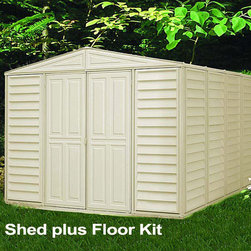 Duramax 10x13 Woodbridge Vinyl Shed - The Duramax Woodbridge 10x13 Vinyl Shed offers lots of space for a medium sized shed. The 10x13 is the largest of the Woodbridge series. Its unique design and style with ivory finish will see the Woodbridge blending into any garden or back yard.