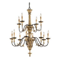 Currey and Company - Adara Chandelier - This chandelier is all about details. Decorative elements are creatively used and placed on this large twelve light fixture. Wrought iron frame and elements are complemented by cast composite details. Three rich finishes of Ivory Brown, Sicilian Gold Leaf and Rust add to the look of elegance.