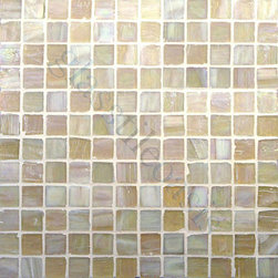 "Glass Tile Oasis - Light Wood 1"" x 1"" Cream/Beige Pool Glossy & Iridescent Glass - Sheet size:  12 5/8"" x 12 5/8""     Tile Size:  1"" x 1""     Tiles per sheet:  144     Tile thickness:  1/4""     Recycled Components:   20%      Sheet Mount:  Paper Face      Sold by the sheet    -  Brilliant glass combed through with coordinating colors and available in 14 mouth-watering colors  in both Iridescent and Frost finishes.Waterfall tiles are hand-poured and will have a certain amount of variation and variegation of color  tone  shade and size. Additionally  you will notice creases  wrinkles  shivers  waves  bubbles topped off with a natural surface to catch all forms of light for a brilliant effect. These characteristics of natural glass and only serve to enhance the final beauty of the installation."