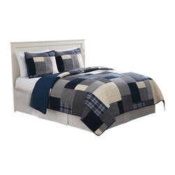 Pem America - Indigo Blues King Quilt with 2 Shams - Classic patchwork design with 100% cotton face and filling. Features deep menswear looks for that casual bedroom. Includes 1 king size quilt and 2 pillow shams. 100% cotton face cloth with 94% cotton / 6% other fiber fill.  Prewashed for softness. See care label for instructions.
