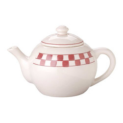 Renovators Supply - Teapots White/Red Stoneware Teapot 8 cups (64 OZ) Checkmate USA - Stoneware Teapot. These pieces certainly are well mated and suited to a soothing cup of afternoon tea. Made in the USA of hefty stoneware; hand decorated checkered motif. Teapot measures 7 in. H x 11 in. proj. and is 8 cups or 64 ounces or 2 quarts. Made in USA.