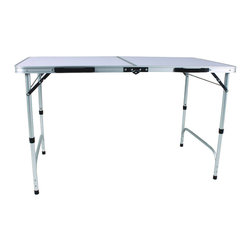 "Corner II - Corner II Slim Jim Aluminum Folding Table - This Slim Jim Aluminum Table folds extra small like a briefcase! Light enough to be carried by anyone & store anywhere. Fits in a car backseat or trunk, on boats, etc. 2 heights, standard table height and extra low.  29 1/2"" H x 23 1/2"" W x 47"" L. (10 lbs.)"