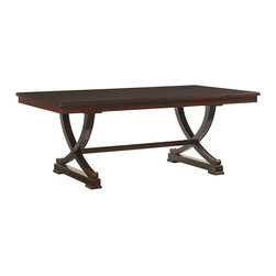 Lexington - Lexington Kengsington Place Westwood Rectangular Dining Table 708-877 - Featuring two 18 inch leaves crafted from Ribbon Stripe Mahogany veneer with burnished brass finished metal accents, this dining table provides luxurious space for entertaining guests.