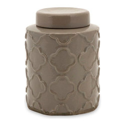 "Imax Worldwide Home - Essentials Small Atmosphere Canister with Lid - Part of the popular Essentials by Connie Taupe collection, this ceramic canister adds a nice pop of color to any room. Perfect for accenting a tabletop or shelf, you it to store odds and ends or as a purely decorative touch. For a coordinated look, pair; Materials: 93.35% Terracotta, 5.73% Glaze, 0.92% Paint; Country of Origin: Philippines; Weight: 3.003 lbs; Dimensions: 7.5""H x 5.75""W x 5.75"""