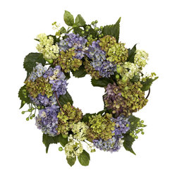 Nearly Natural - 22in. Hydrangea Wreath - Hydrangeas come in all manner of colors, and we've captured some of nature's best in this stunning 22' wreath. With several different blooms in all manner of maturity stage and hues, surrounded by an assortment of green leaves and berries, this wreath presents an endless array of 'oooh, look at that!' Makes an ideal 'year-round' wall decoration, and also makes a thoughtful gift.