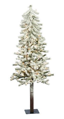 "Vickerman - Flock Alpine DuraLt 150CL 348T (5' x 27"") - 5' x 27"" Flocked Alpine Tree with 150 Clear Dura-Lit Lights, 348 Tips, Metal Stand"