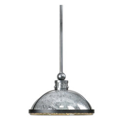 Uttermost - Uttermost 22024  Specchio 1 Light Mercury Glass Pendant - Crackled mercury glass enhanced with warm champagne silver finish dresses up this transitional, rod hung pendant with a mirror like reflectance making it both clean and refined. 60 watt antique style bulb included.
