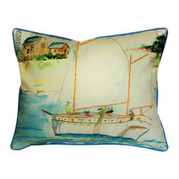 Betsy Drake - Betsy Drake Two Masted Boat Pillow- Indoor/Outdoor - Two Masted Boat Pillow- Large indoor/outdoor pillow. These versatile pillows are equal at enhancing your homes seaside decor and adding coastal charm to an outdoor setting arrangment. They feature printed outdoor, fade resistant fabric for years of wear and enjoyment. Solid back, polyfill. Proudly made in the USA.