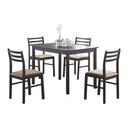 Monarch Specialties - Monarch Specialties I 1111 Cappuccino Veneer 5 Piece Dining Room Set - This casual dining set offers classic styling that will blend with any decor. The rectangular table features a solid wood top, straight edges and sleek square legs. The armless side chairs feature a ladder back design with padded upholstered seating for comfort. The clean lines of this set paired with a warm cappuccino finish, will help create a timeless look that you and your family will love. Dining Table (1), Dining Chair (4)