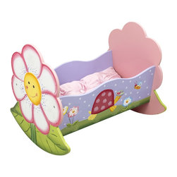 Magic Garden Rocking Bed - Rock your baby doll to sleep in the comfort of her own nature inspired rocking bed. Cheerful smiling flower designs are at the head and foot of the rocker, while cute snails and bumble bees adorn the sides. Lay baby doll down on the velvety pink pillow and blanket that comes included, making nap time a joy. Some assembly required, perfect for ages 3 and up.