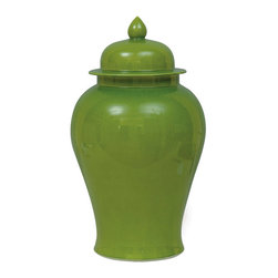 Kathy Kuo Home - Green Apple Modern Asian Temple Lidded Ginger Jar - Go green! Add a bold shot of color to your space with this porcelain temple jar. A contemporary interpretation of a classic Ming design, the jar has a shapely silhouette that's highlighted by a crackle glaze.