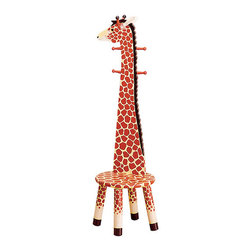 "Teamson Kids - Safari Collection Giraffe Stool With Coat Rack - Your kids will love this! Our lovely Safari Collection Giraffe Stool will let them hand their coats alone and then take a seat. Made by the Teamson Company with exceptional quality and flair, this stool makes it every child's favorite. Perfectly hand carved with the finest wood, and vividly hand painted, this giraffe will draw your child's attention making it their favorite. Dimensions: 13 3/4"" x 13 3/4"" x 42"""