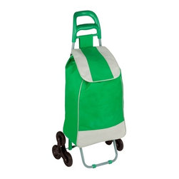 Bag Cart With Tri-Wheels, Green - Honey-Can-Do CRT-03935 Large Rolling Knapsack Bag Cart with Tri-Wheels for Steps, Green. Polyester knapsack bag with tri-wheels for curbs, steps and elevated surfaces. Ergonomic comfort grip handle for easy transport. PVC coated wheels are smooth rolling and quiet, will not scuff or damage floors. Knapsack quickly secures contents of bag with black drawstrings. Balance bar and tri-wheels allow bag cart to sit upright, free up your hands. Use the rolling cart in your laundry room, hobby area, kids playroom, or tucked away neatly until ready for use. Product Dimensions: 17.32 in L x 6.69 in W x 39.37 in H. Home and travel organization made easy.