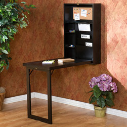 Wall-Mounted Fold-Down Desk - Just like a Murphy bed, this desk saves space by folding up into the wall. It lets you quickly hide away bills and paperwork in its two adjustable shelves, bill organizer, small compartments and corkboard. And it doesn't take up any floor space at all!