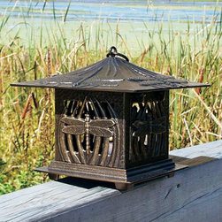 Dragonfly Candle Lantern - Light up your patio or deck rail with a dragonfly candle lantern.  This lantern would be perfect for an evening cookout or any evening spent entertaining guests outdoors this spring and summer.