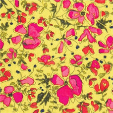 fabric green Michael Miller fabric pink flowers by Laura Gunn