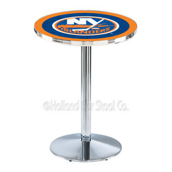 Holland Bar Stool - Holland Bar Stool L214 - Chrome New York Islanders Pub Table - L214 - Chrome New York Islanders Pub Table  belongs to NHL Collection by Holland Bar Stool Made for the ultimate sports fan, impress your buddies with this knockout from Holland Bar Stool. This L214 New York Islanders table with round base provides a commercial quality piece to for your Man Cave. You can't find a higher quality logo table on the market. The plating grade steel used to build the frame ensures it will withstand the abuse of the rowdiest of friends for years to come. The structure is triple chrome plated to ensure a rich, sleek, long lasting finish. If you're finishing your bar or game room, do it right with a table from Holland Bar Stool.  Pub Table (1)