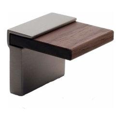 Richelieu Hardware - Richelieu Contemporary Metal & Wood Pull 16mm Nickel & Walnut Wood - Richelieu Contemporary Metal & Wood Pull 16mm Nickel & Walnut Wood