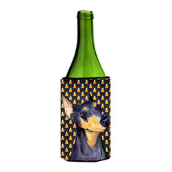 Caroline's Treasures - Doberman Candy Corn Halloween Portrait Wine Bottle Koozie Hugger SS4288LITERK - Doberman Candy Corn Halloween Portrait Wine Bottle Koozie Hugger SS4288LITERK Fits 750 ml. wine or other beverage bottles. Fits 24 oz. cans or pint bottles. Great collapsible koozie for large cans of beer, Energy Drinks or large Iced Tea beverages. Great to keep track of your beverage and add a bit of flair to a gathering. Wash the hugger in your washing machine. Design will not come off.