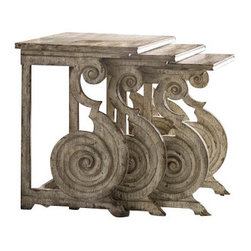 Hooker Furniture - Accents Nest of Tables - Opulence has not gone out of style! Particularly when it serves a purpose. And these stack tables are a striking addition to any type of decor. The fanciful scrolls are reminiscent of sea horses frolicking in the ocean.