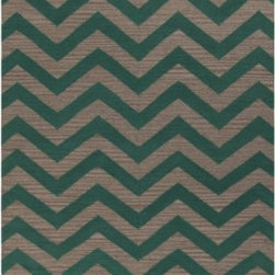 "Surya Rugs - Frontier Emerald Green/Silver Cloud Zig Zag Rug Size: Runner 2'6"" x 8' - 100% Wool. Rugs Size: 2'6"" x 8'. Note: Image may vary from actual size mentioned."