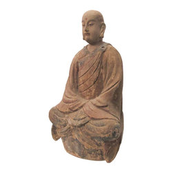 """Golden Lotus - Chinese Wood Hand Carving Sitting Monk Statue - Look at this peaceful Chinese sitting monk which is made of solid elm wood.  This statue is different with the reproduction you see at the market.  You can see the monk face and proportion which are perfect.  It should be gorgeous to put at your entrance hall way or living room.Outside Dimensions: 15""""Wx9.5""""Dx26.5""""H"""