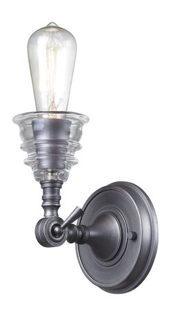 Elk Lighting - Elk Lighting Insulator Glass Wall Sconce with Weathered Zinc X-1-02866 - The Insulator Glass Collection Was Inspired By The Glass Relics That Adorned The Top Of Telegraph Lines At The Turn Of The 20Th Century.  Acting As The Centerpiece Of This Series Is The Recognizable Shape Of The Glass Insulator, Made From Thick Clear Glass That Is Complimented By Solid Cast Hardware Designed With An Industrial Aesthetic. Finishes Include Polished Chrome, Oiled Bronze, And Weathered Zinc.