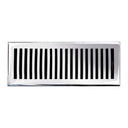 """Brass Elegans [116E CH] Brass Decorative Floor Register Vent Cover - Contemporar - This chrome finish solid brass floor register heat vent cover with a contemporary design fits 4"""" x 12"""" x 2"""" duct openings and adds the perfect accent to your home decor."""