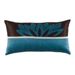 Rizzy Rugs - Rizzy Home Peacock Blue 11 Inch x 21 Inch Pillow Cover with Hidden Zipper - - Pillow Cover with Hidden Zipper  - Poly Slub Fabric  - Appliqu�, Embroidered, and Piecing Details  - Primary Color - Peacock Blue  - Secondary Color - Brown  -  Hand Wash in Cold Water. Lay Flat to Dry. Rizzy Rugs - T04068