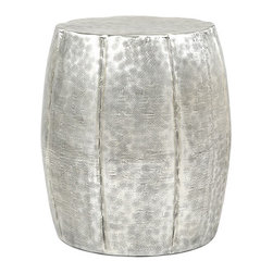 Hammered Drum End Table - Inject a little texture into unexpected places with this charming drum-shaped accent table. Its silvery sides keep a hammered texture, giving it an artisanal feeling.