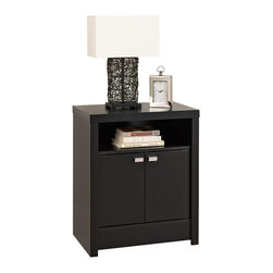 Prepac - Series 9 Designer 2 Door Tall Nightstand (Bla, Black - Finish: BlackIncludes an instruction booklet for easy assembly. Doors open smoothly on 6 way adjustable hinges. Doors feature stylish rectangular chrome finished metal pulls. 5 year manufacturers limited parts warranty. Made from CARB-compliant, laminated composite woods with a sturdy MDF backer. Made in North America. Assembly required. Shelf: 21.5 in. W x 14.5 in. D x 5.75 in. H. Cabinet Interior: 23.25 in. W x 14.5 in. D x 14.5 in. H. Overall: 25 in. W x 15.25 in. D x 28 in. HThe Series 9 Designer 2 Door Tall Nightstand draws the eye with its bold, thick tops and sides, and is the perfect choice for your modern bedroom.  Offering ample space in the open top shelf, this nightstand stands out with two elegant doors instead of the traditional drawers.  Conceal items like books, baskets and other personal items behind them, or keep them closer at hand in the top shelf.