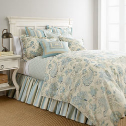"Legacy Home - Legacy Home Queen Geometric Coverlet, 90"" x 96"" - Calming colors bring a cohesiveness to the eclectic patterns in this sky blue, aquamarine, and ivory bed linens ensemble. Made in the USA by Legacy Home. Dry clean. Jacobean floral linens are linen/rayon. Geometric linens are cotton/polyester jacquard. Striped linens are cotton. Dust skirts have"