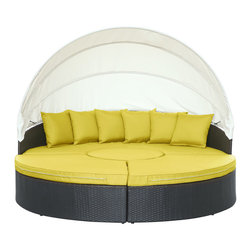 Modway - Modway EEI-983 Quest Canopy Daybed in Espresso Peridot - Complete your circle with four distinct wedges of joy. Quest pieces together the puzzle of experience with a fun and versatile daybed. Adjourn for your daytime repast either by yourself or with others. Like offering a friend a warm slice of pie, Quest's pieces easily separate to serve the seating needs of others. The set also comes equipped with a sun canopy to shield your leisure time with the pleasantness of shade. Courageously engaging, this is a daybed that reveals the hidden art of collaboration and communal engagement. Quest is comprised of a UV resistant rattan base, a powder-coated aluminum frame and all-weather cushions. The set is perfect for cafes, restaurants, pool areas, hotels, resorts and other outdoor spaces.