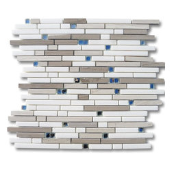 "GlassTileStore - Enchanted Dutchess Marble & Glass Tile - Enchanted Dutchess Marble and Glass Tile             This beautiful marble and glass mosaic with its blend of white thassos, wooden beige, athens gray and mirror glass leaves the room with a contemporary and modern feeling. The mesh backing not only simplifies installation, it also allows the tiles to be separated which adds to their design flexibility.          Chip Size: 3/8"" x Random   Color: White Thassos, Wooden Beige, Athens Gray and Mirror   Material: Mirror Glass and Stone   Finish: Polished   Sold by the Sheet- each sheet measures 11.25""x11.75"" (0.92 sq.ft.)   Thickness: 10 mm   Please note each lot will vary from the next.            - Glass Tile -"