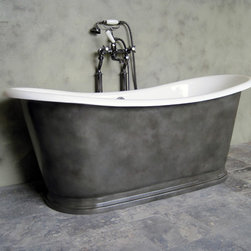 Vintage Modern (Castings) - The St. Versailles bathtub is a re-casting of an antique French tub. Our version is a cast alloy with a slow baked enamel interior, we custom finish the exteriors of all our tubs to clients order. Shown here is a Metallic Finish called Patinated Iron. We use a mix of paint, metallic powders, aging chemicals and glazes to create the look of an old iron tub that has begun to patina, the finish is then clear coated with a Satin Lacquer to create a surface that can be easily cleaned and cared for. The look of an old vintage tub without the rust!